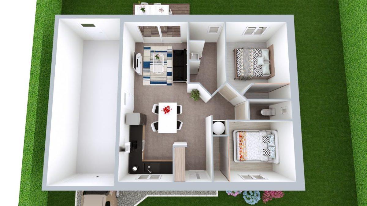 Modèle de Maison AMÉTHYSTE, 3 pièces de 58m² - Proposition d'Aménagement