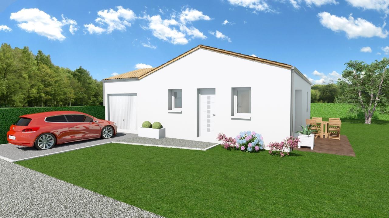 Modèle de Maison AMBRE, 3 pièces de 54m² - Perspective Avant en Tuile