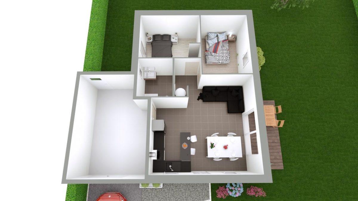 Modèle de Maison AMBRE, 3 pièces de 54m² - Proposition d'Aménagement