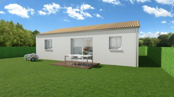 Modèle de Maison AURALITE, 3 pièces de 64m² - Perspective Arrière en Tuile