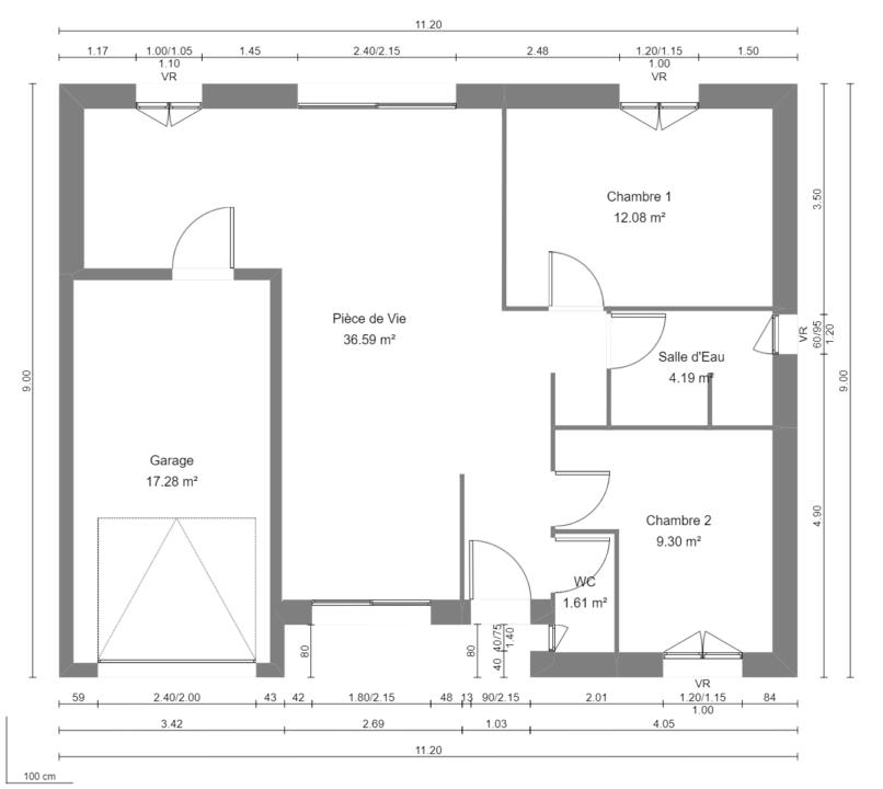 Modèle de Maison AURALITE, 3 pièces de 64m² - Plan du RdC