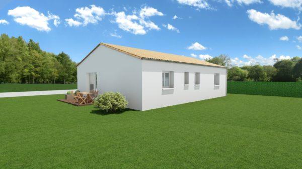 Modèle de Maison AZURITE, 3 pièces de 74m² - Perspective Arrière en Tuile