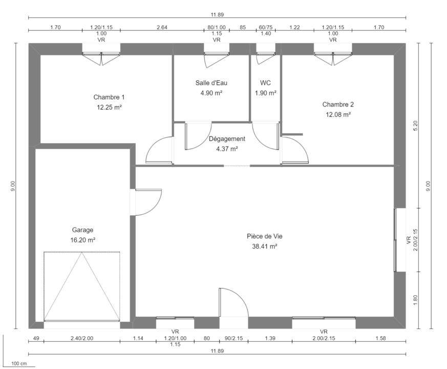 Modèle de Maison AZURITE, 3 pièces de 74m² - Plan du RdC
