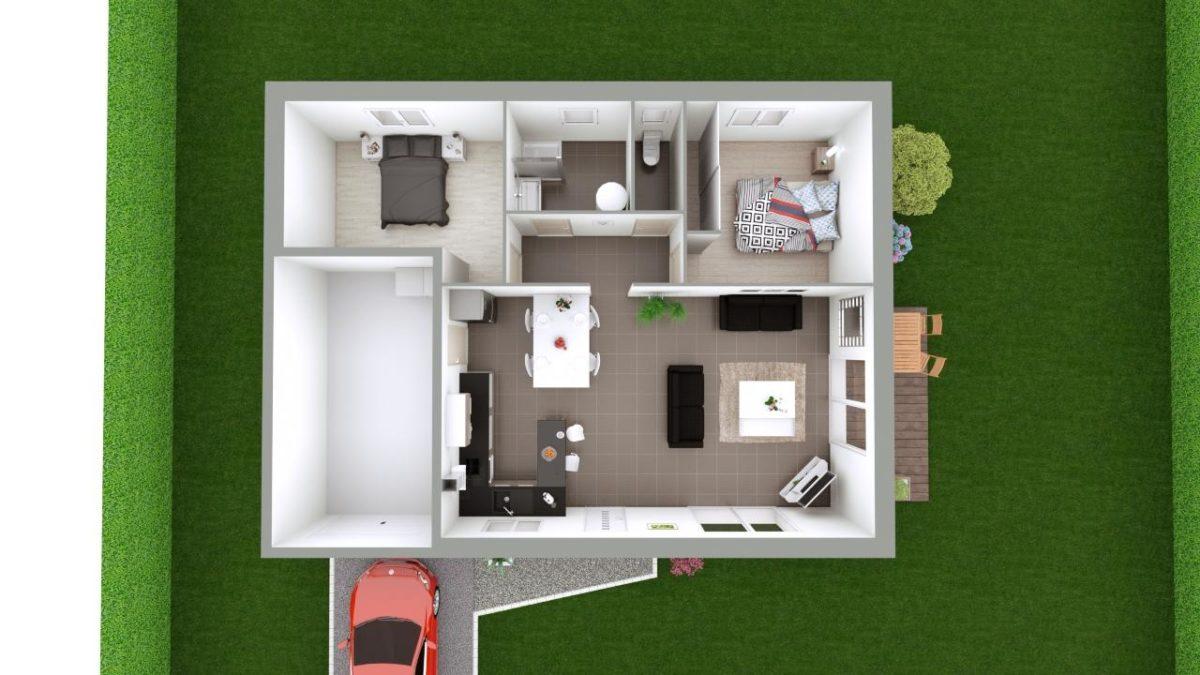 Modèle de Maison AZURITE, 3 pièces de 74m² - Proposition d'Aménagement