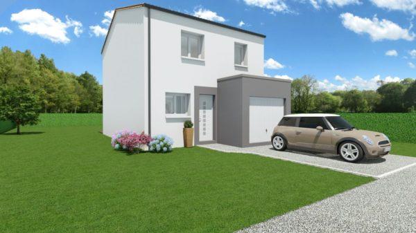 Modèle de Maison BÉRYL, 4 pièces de 77m² - Perspective Avant en Tuile