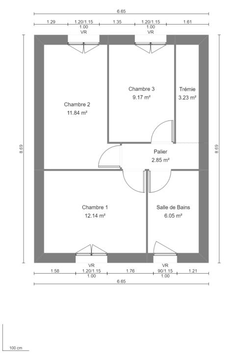 Modèle de Maison BÉRYL, 4 pièces de 77m² - Plan du R+1
