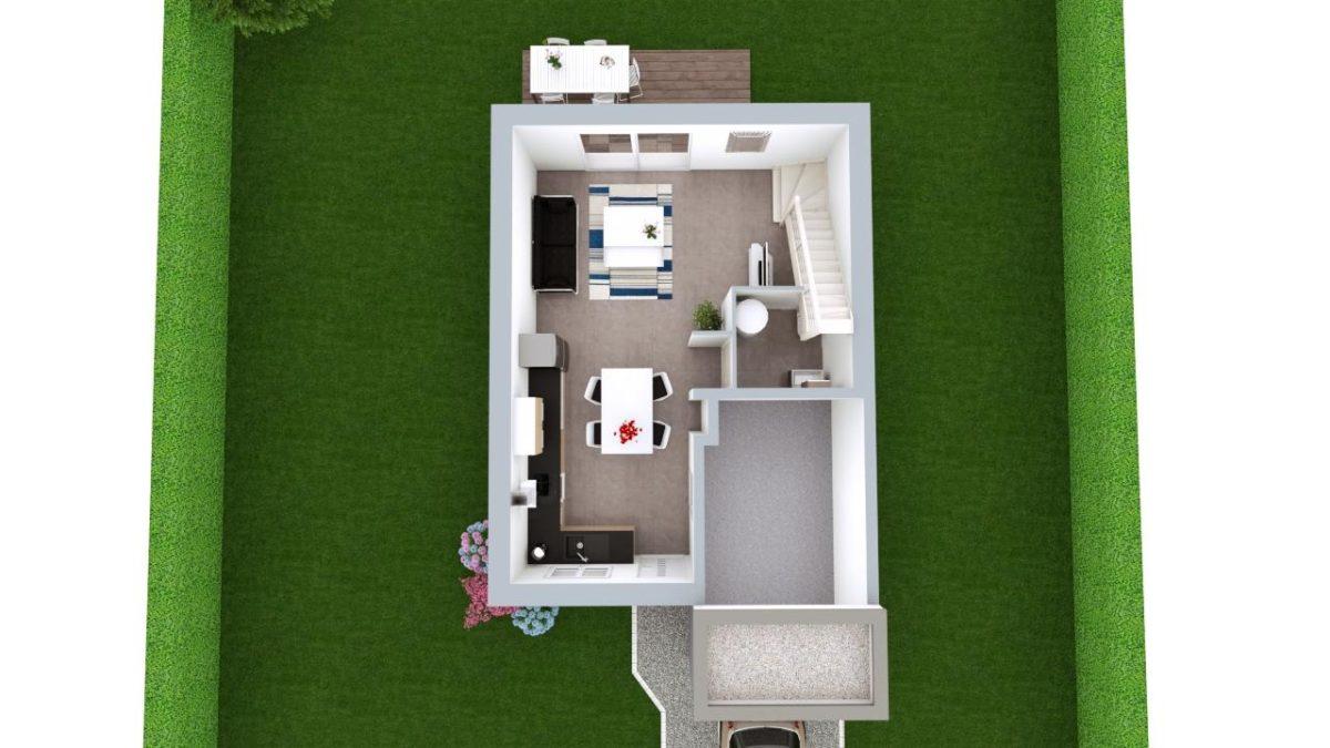 Modèle de Maison BÉRYL, 4 pièces de 77m² - Proposition d'Aménagement du RdC