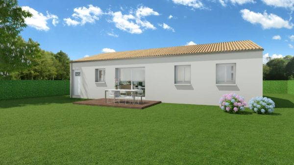 Modèle de Maison CORNALINE, 4 pièces de 78m² - Perspective Arrière en Tuile