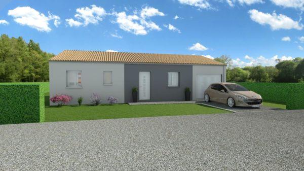 Modèle de Maison CORNALINE, 4 pièces de 78m² - Perspective Avant en Tuile