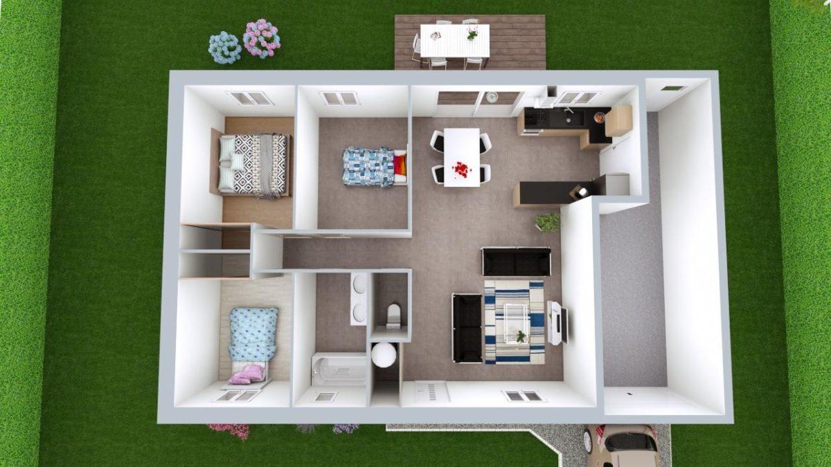 Modèle de Maison CORNALINE, 4 pièces de 78m² - Proposition d'Aménagement