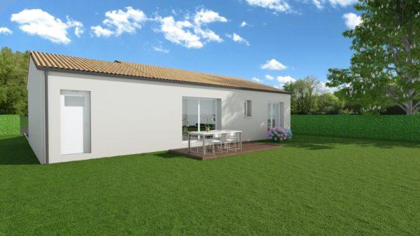 Modèle de Maison CRISTAL, 4 pièces de 79m² - Perspective Arrière en Tuile