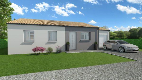 Modèle de Maison CRISTAL, 4 pièces de 79m² - Perspective Avant en Tuile