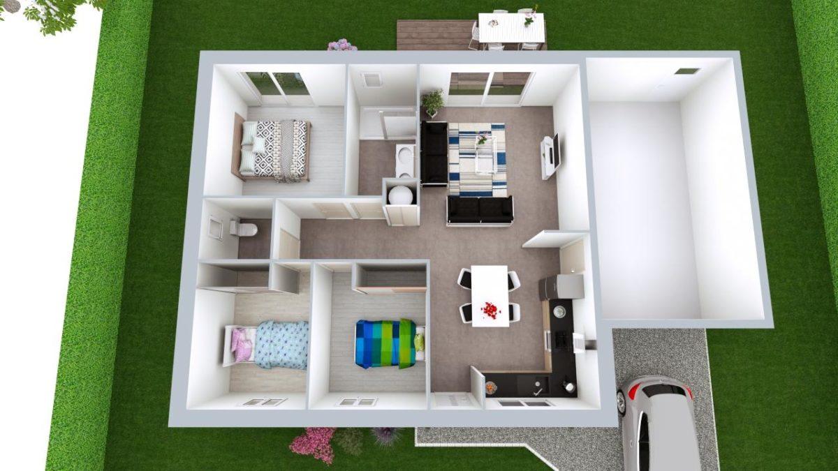 Modèle de Maison CRISTAL, 4 pièces de 79m² - Proposition d'Aménagement