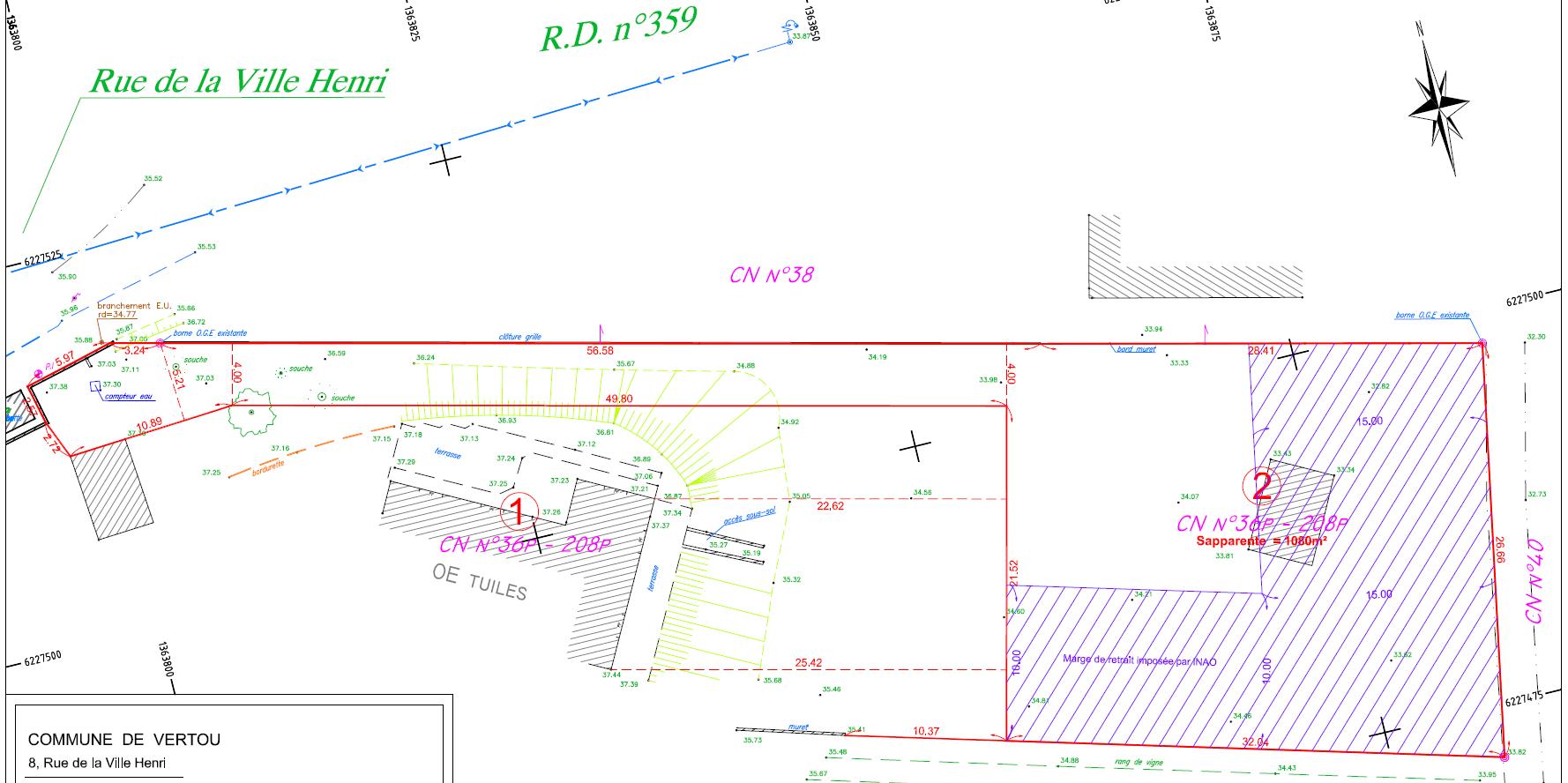 Maison 100m² + Terrain 1.088m² à Vertou - Parcelle