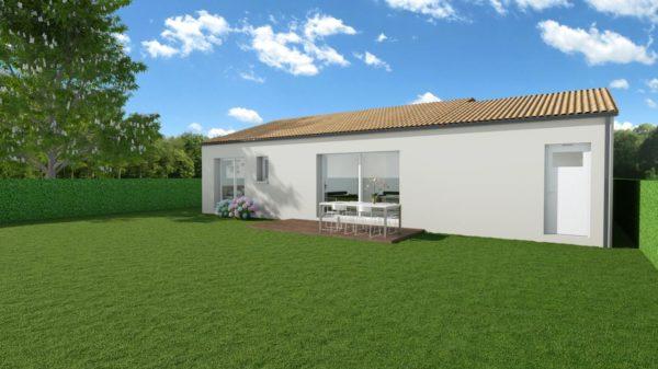 Modèle de Maison DIOPTASE, 4 pièces de 80m² - Perspective Arrière en Tuile