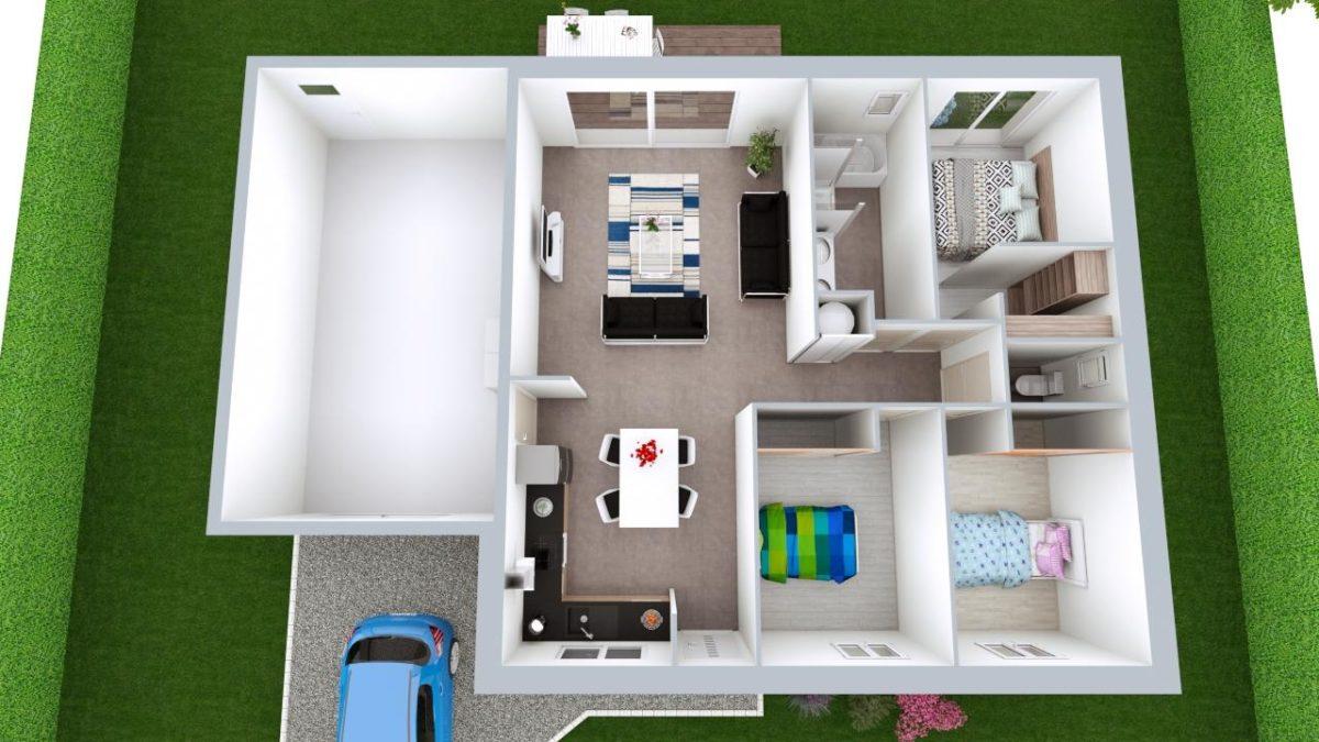 Modèle de Maison DIOPTASE, 4 pièces de 80m² - Proposition d'Aménagement
