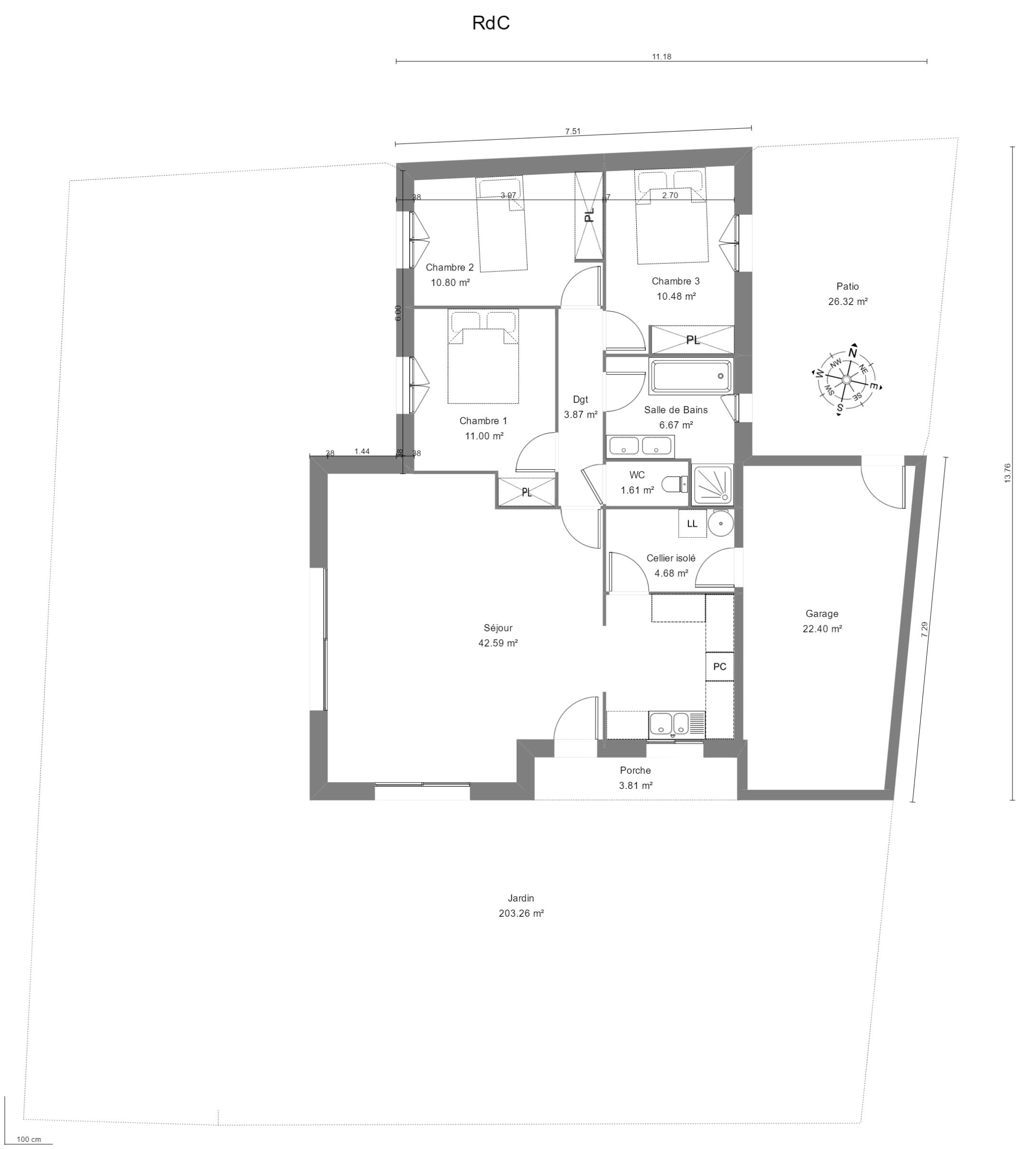 Maison 92m² + Terrain 350m² à La Chapelle-Basse-Mer - Emprise sur Terrain