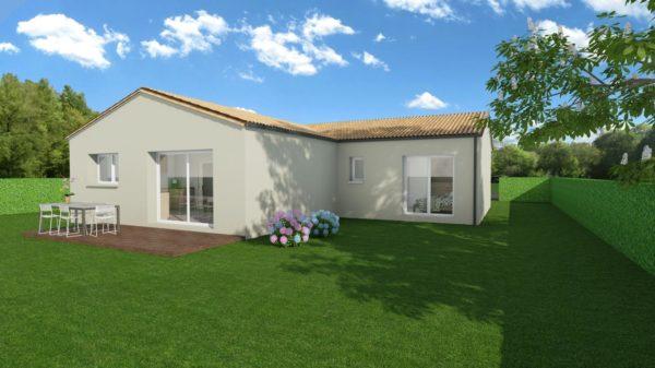 Modèle de Maison FLUORITE, 4 pièces de 87m² - Perspective Arrière en Tuile