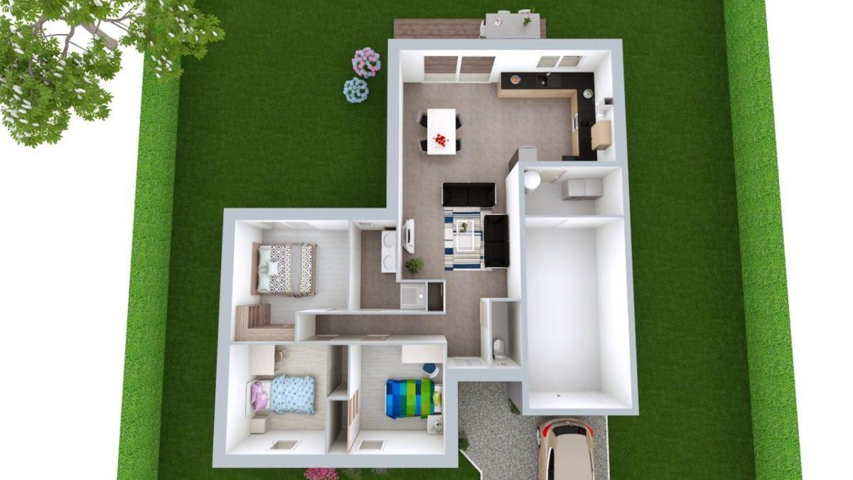 Modèle de Maison FLUORITE, 4 pièces de 87m² - Proposition d'Aménagement