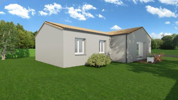 Modèle de Maison GALÈNE, 4 pièces de 89m² - Perspective Arrière en Tuile