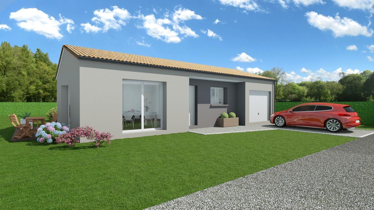 Modèle de Maison GALÈNE, 4 pièces de 89m² - Perspective Avant en Tuile