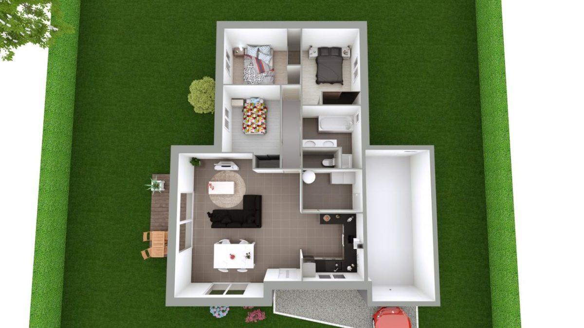 Modèle de Maison GALÈNE, 4 pièces de 89m² - Proposition d'Aménagement