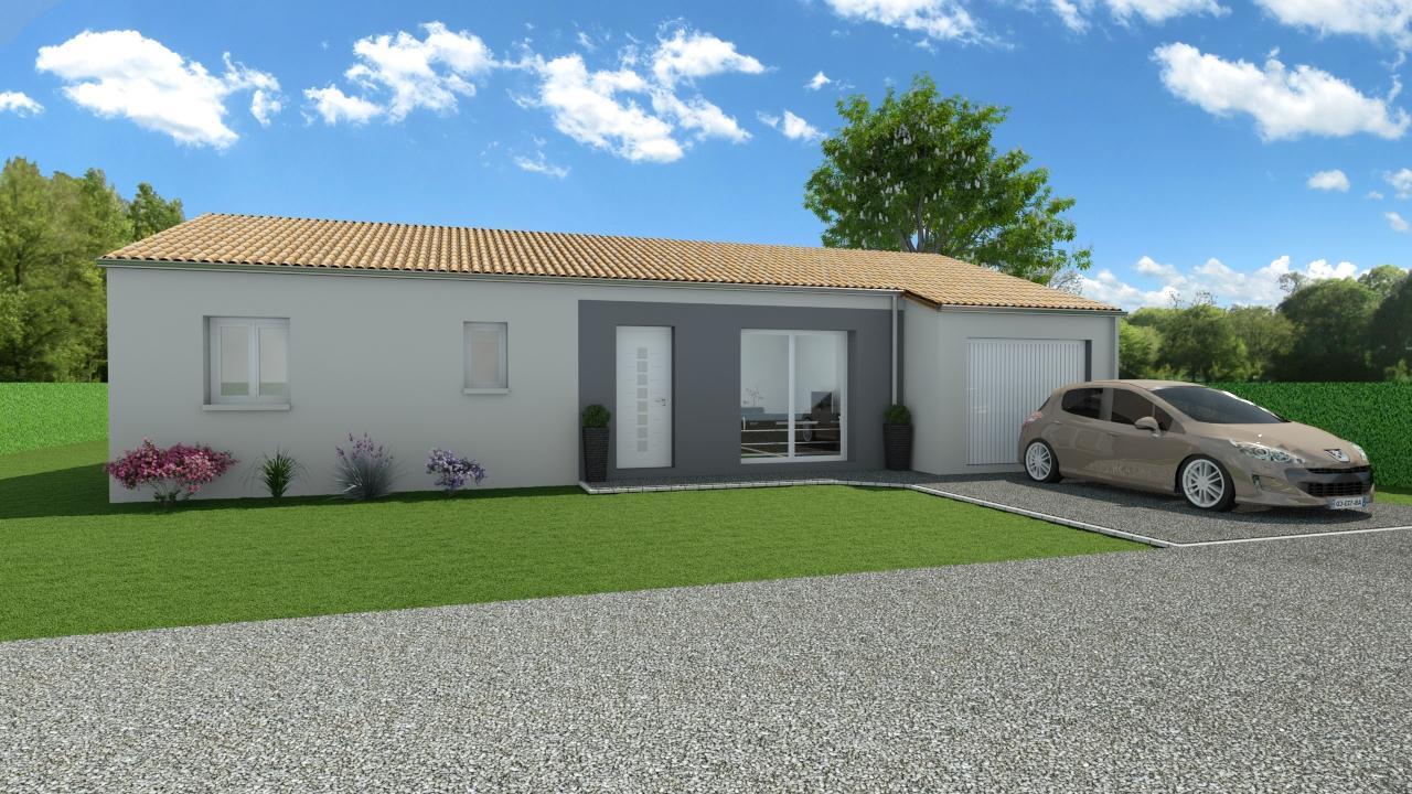 Modèle de Maison GRENAT, 4 pièces de 91m² - Perspective Avant en Tuile