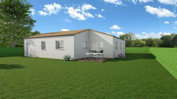 Modèle de Maison JADE, 4 pièces de 92m² - Perspective Arrière en Tuile