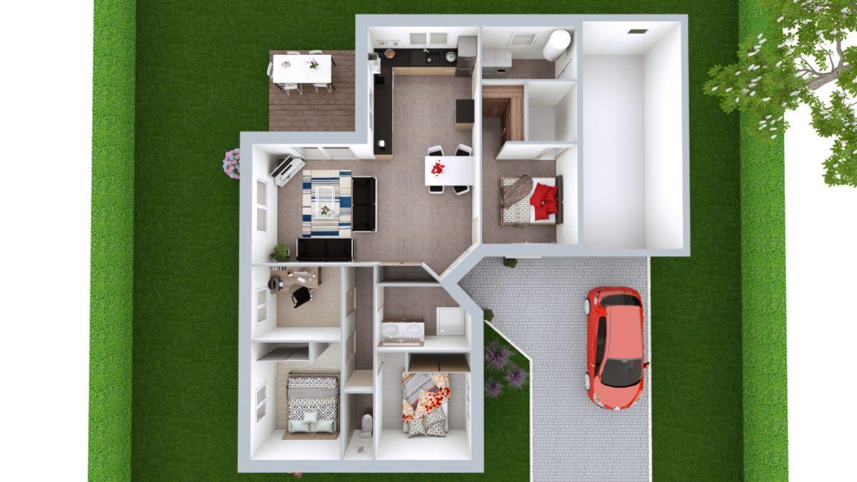 Modèle de Maison JADE, 4 pièces de 92m² - Proposition d'Aménagement