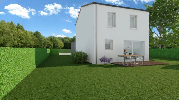 Modèle de Maison LARIMAR, 4 pièces de 93m² - Perspective Arrière en Tuile