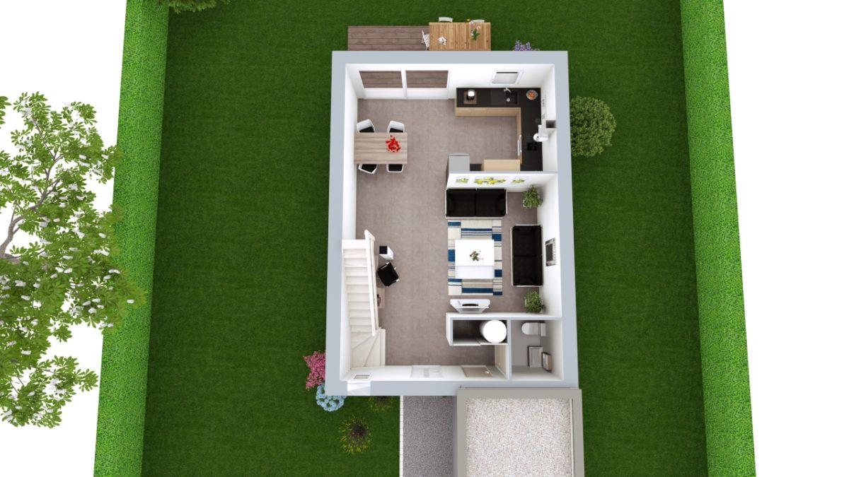 Modèle de Maison LARIMAR, 4 pièces de 93m² - Proposition d'Aménagement du RdC
