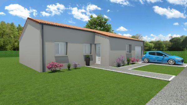 Modèle de Maison MALACHITE, 5 pièces de 95m² - Perspective Avant en Tuile