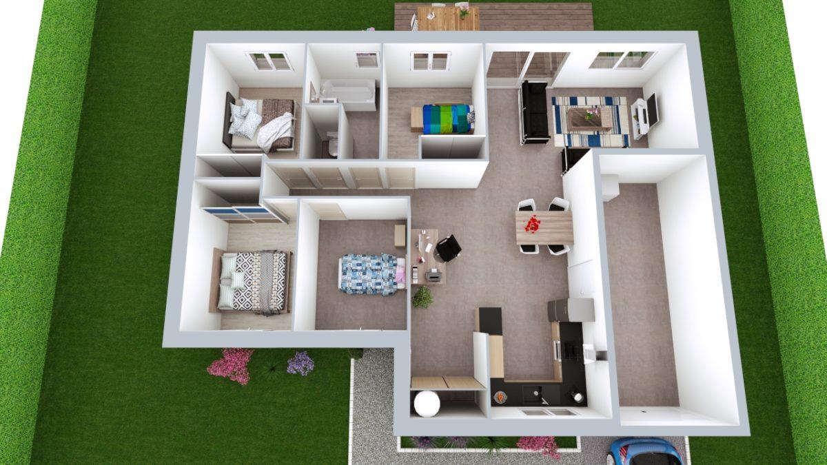 Modèle de Maison MALACHITE, 5 pièces de 95m² - Proposition d'Aménagement