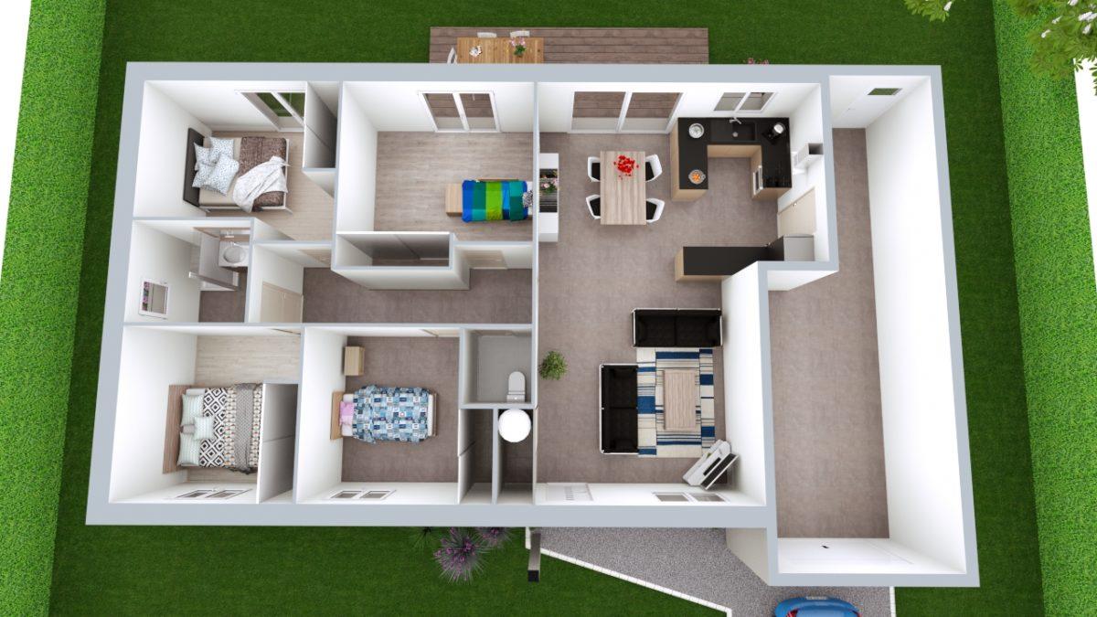 Modèle de Maison OBSIDIENNE, 5 pièces de 98m² - Proposition d'Aménagement
