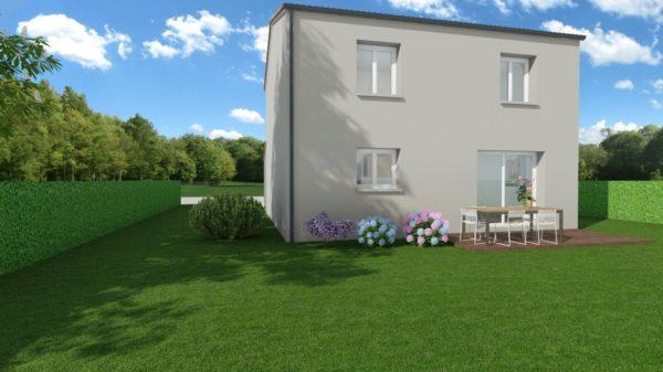 Modèle de Maison ONYX, 5 pièces de 100m² - Perspective Arrière en Tuile