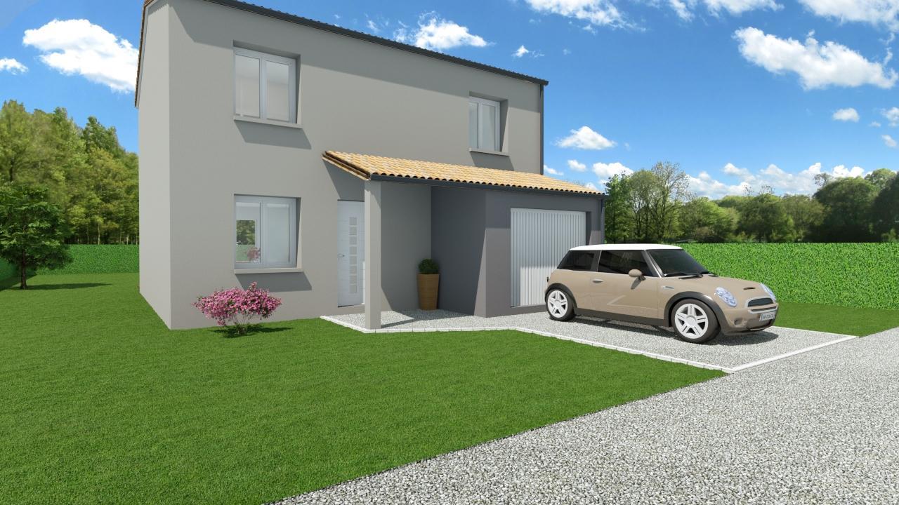 Modèle de Maison ONYX, 5 pièces de 100m² - Perspective Avant en Tuile