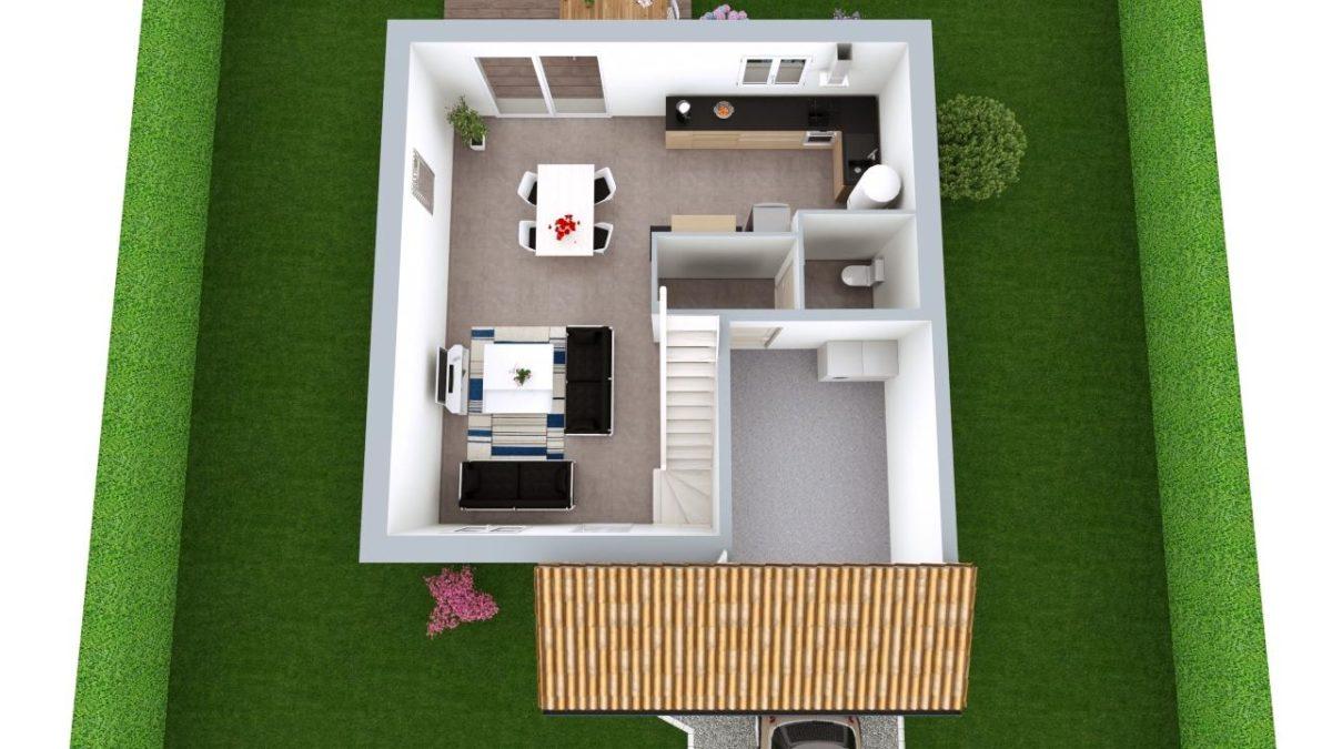 Modèle de Maison ONYX, 5 pièces de 100m² - Proposition d'Aménagement du RdC