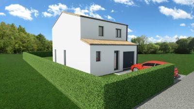 Maison 93m² + Terrain 300m² à Vertou - Perspective Avant