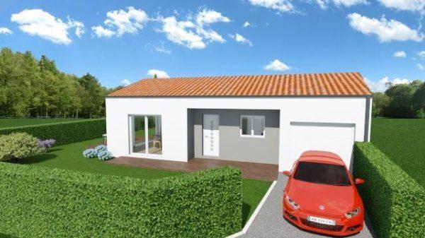 Maison 92m² + Terrain 350m² à La Chapelle-Basse-Mer - Perspective Avant