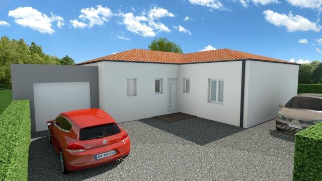 Maison 100m² + Terrain 1.088m² à Vertou - Perspective Avant