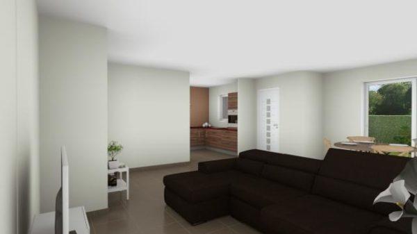 Maison 92m² + Terrain 350m² à La Chapelle-Basse-Mer - Perspective Intérieure du Séjour 1