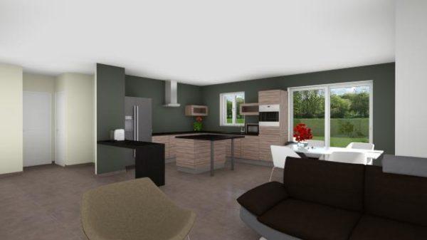 Maison 100m² + Terrain 1.088m² à Vertou - Perspective Intérieure du Séjour