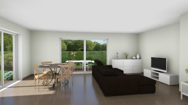 Modèle de Maison GALÈNE, 4 pièces de 89m² - Perspective Intérieure du Séjour