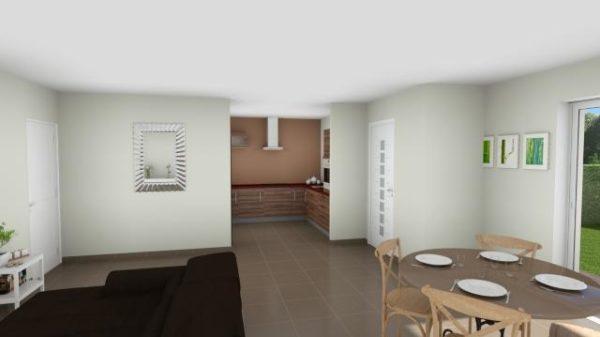 Modèle de Maison GALÈNE, 4 pièces de 89m² - Perspective Intérieure du Séjour et Cuisine