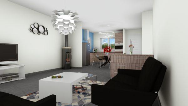 Maison 78m² + Terrain 540m² au Landreau - Perspective Intérieure du Séjour