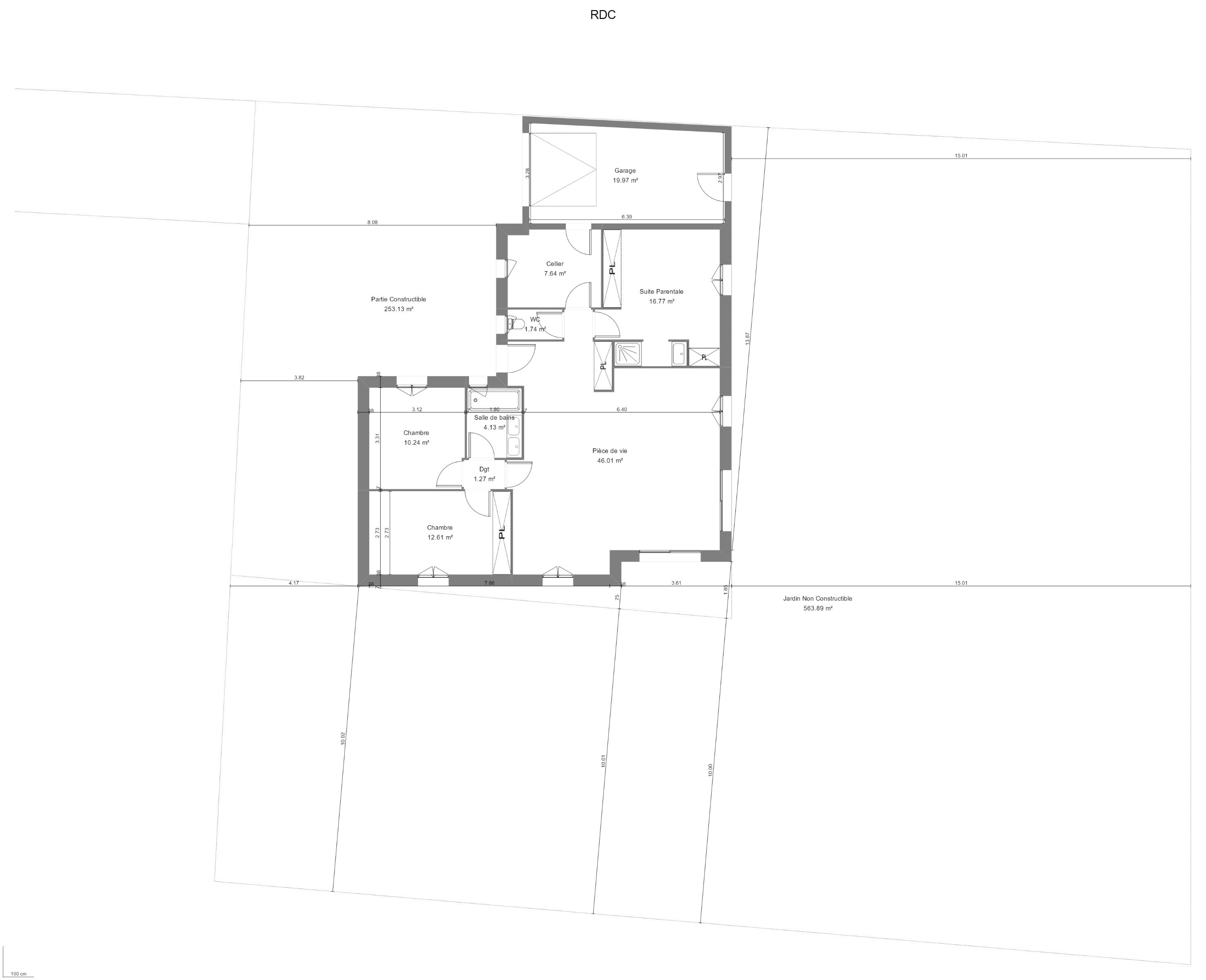 Maison 100m² + Terrain 1.088m² à Vertou - Implantation sur la Parcelle