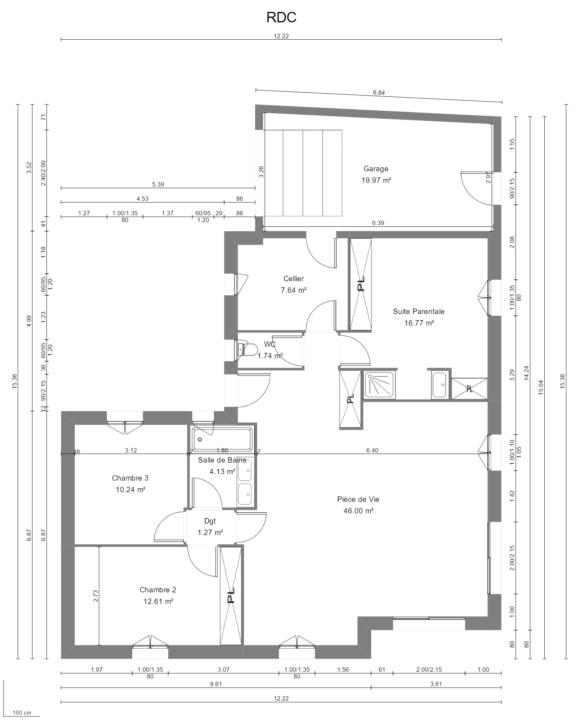 Maison 100m² + Terrain 1.088m² à Vertou - Plan du RdC