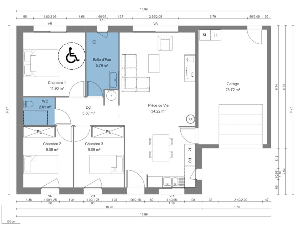Maison 78m² + Terrain 540m² au Landreau - Plan du RdC