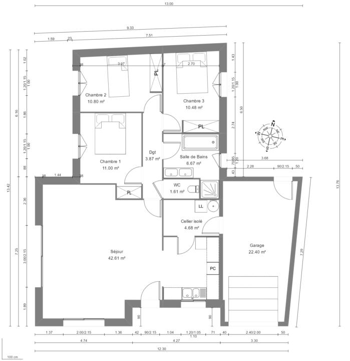 Maison 92m² + Terrain 350m² à La Chapelle-Basse-Mer - Vue en Plan