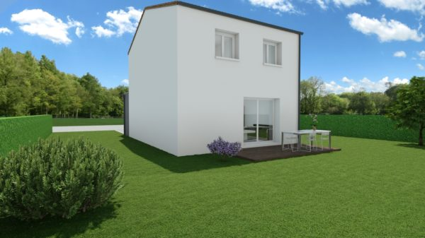 Modèle de Maison BÉRYL, 4 pièces de 77m² - Perspective Arrière en Tuile